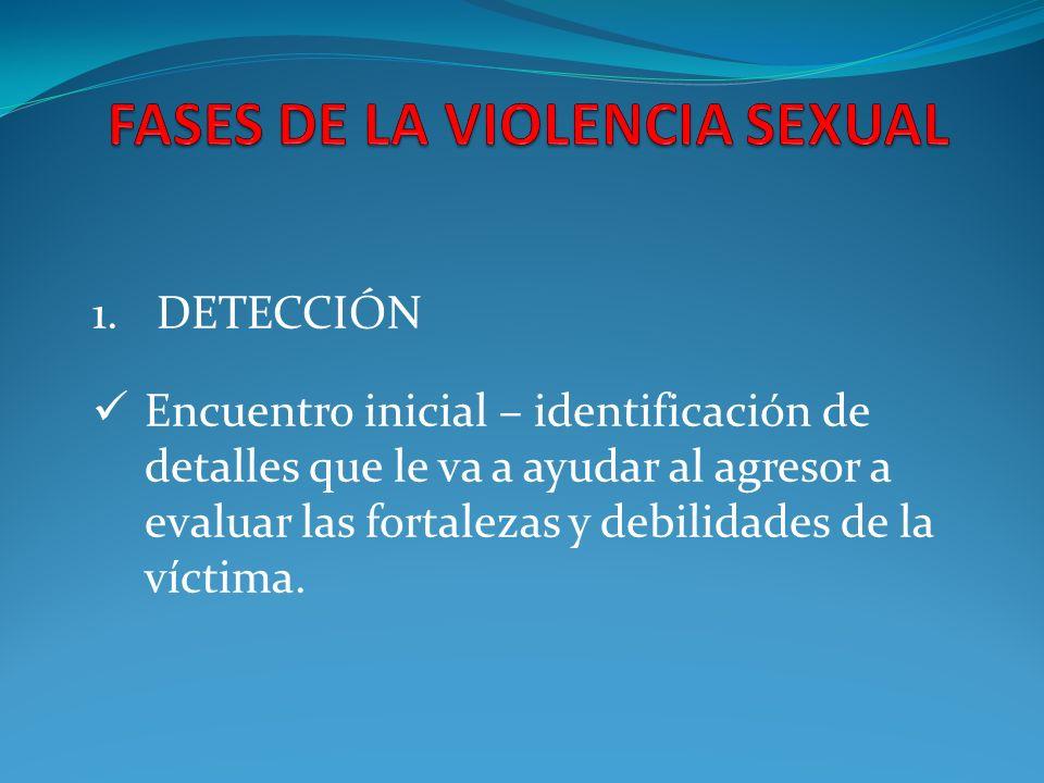 1. DETECCIÓN Encuentro inicial – identificación de detalles que le va a ayudar al agresor a evaluar las fortalezas y debilidades de la víctima.