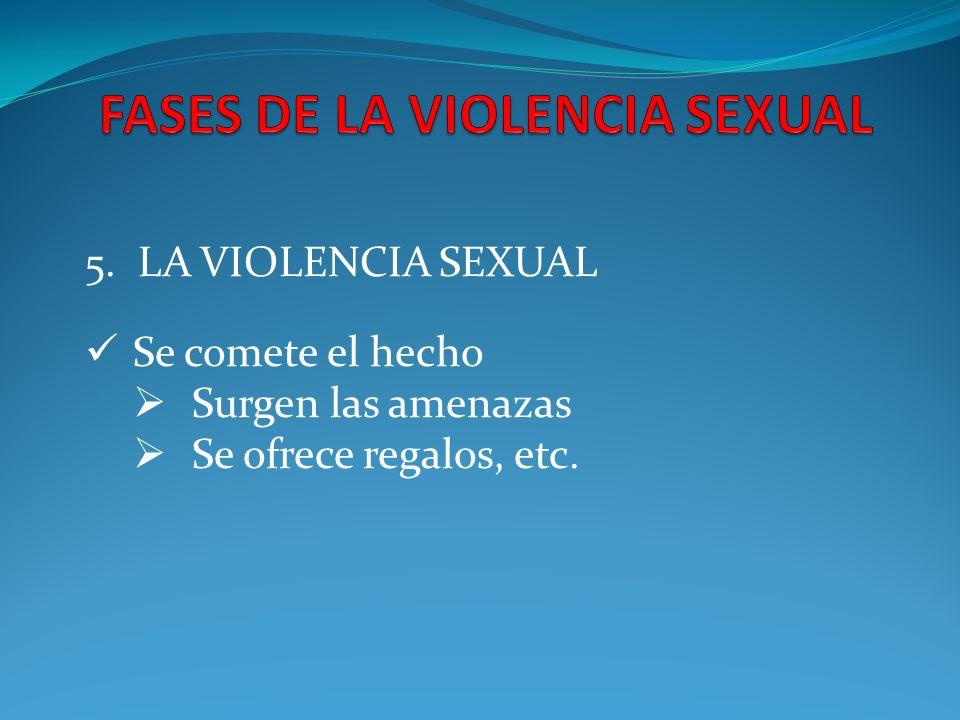 5. LA VIOLENCIA SEXUAL Se comete el hecho Surgen las amenazas Se ofrece regalos, etc.