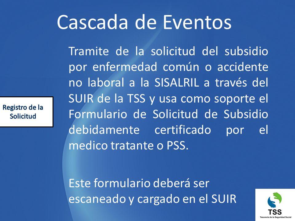 Tramite de la solicitud del subsidio por enfermedad común o accidente no laboral a la SISALRIL a través del SUIR de la TSS y usa como soporte el Formu