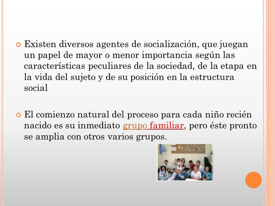 Existen diversos agentes de socialización, que juegan un papel de mayor o menor importancia según las características peculiares de la sociedad, de la