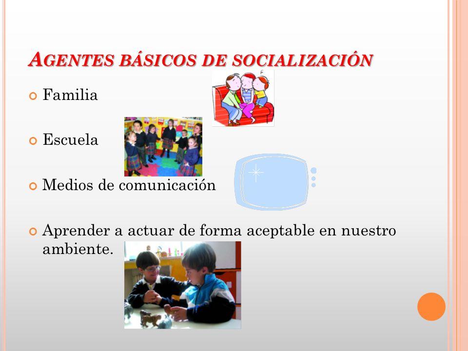 A GENTES BÁSICOS DE SOCIALIZACIÓN Familia Escuela Medios de comunicación Aprender a actuar de forma aceptable en nuestro ambiente.