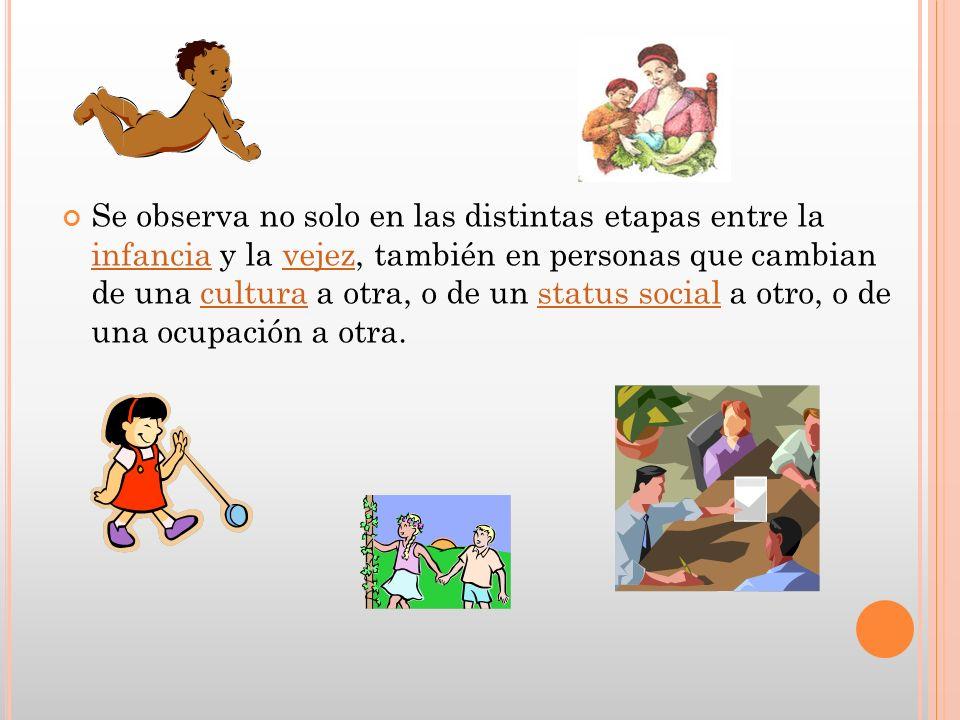 Se observa no solo en las distintas etapas entre la infancia y la vejez, también en personas que cambian de una cultura a otra, o de un status social