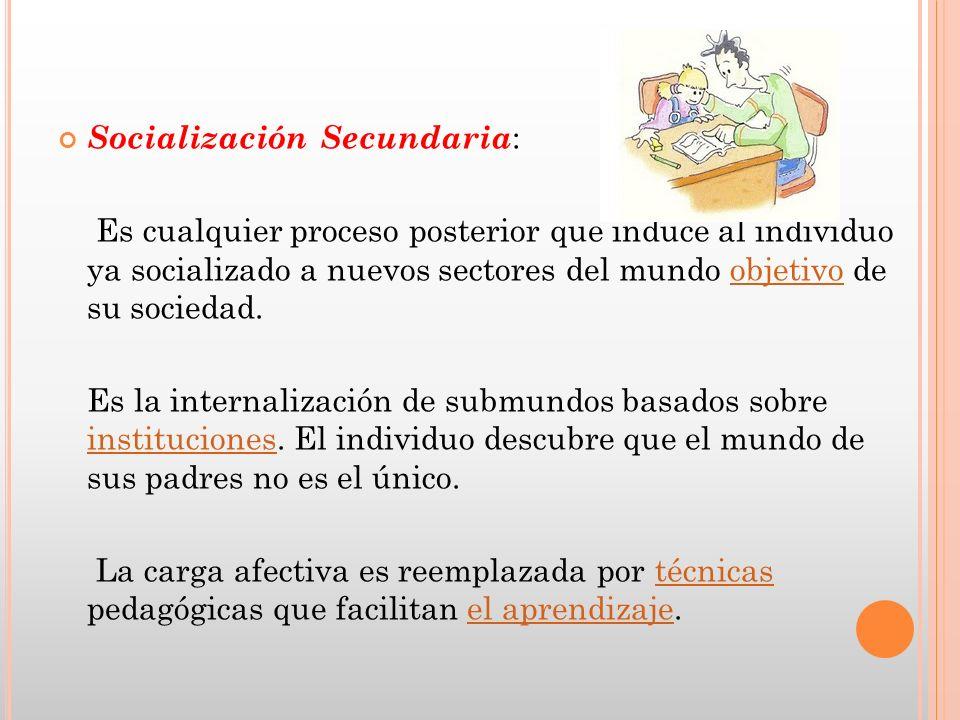 Socialización Secundaria : Es cualquier proceso posterior que induce al individuo ya socializado a nuevos sectores del mundo objetivo de su sociedad.o