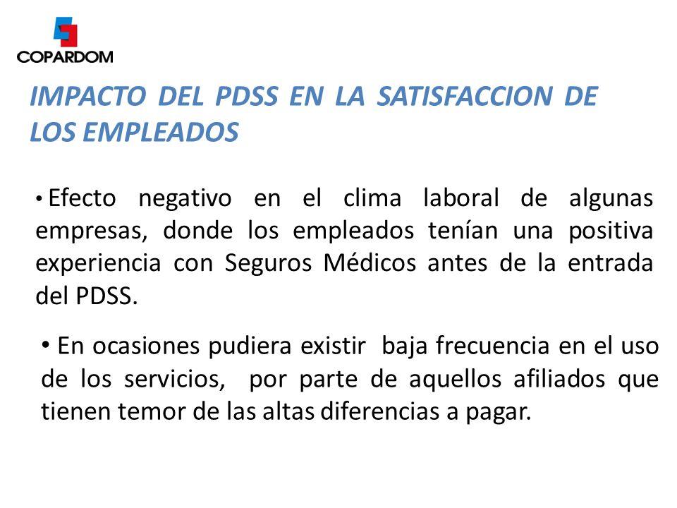 IMPACTO DEL PDSS EN LA SATISFACCION DE LOS EMPLEADOS Desconocimiento por parte de los afiliados y Proveedores de Salud del alcance, coberturas y procedimientos del Plan Básico de Salud.