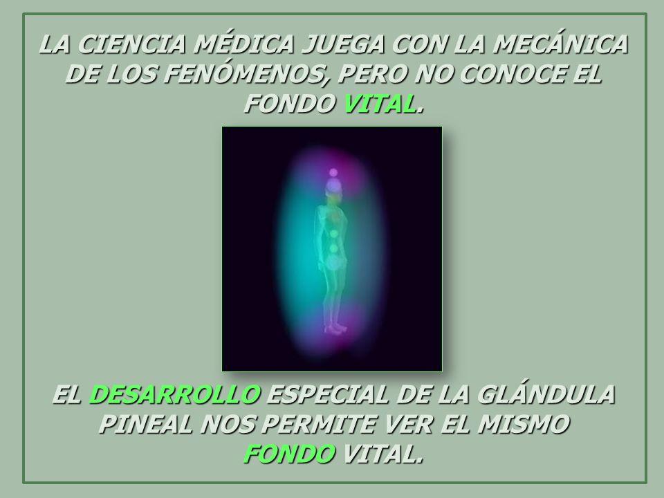 LA CIENCIA MÉDICA JUEGA CON LA MECÁNICA DE LOS FENÓMENOS, PERO NO CONOCE EL FONDO VITAL. EL DESARROLLO ESPECIAL DE LA GLÁNDULA PINEAL NOS PERMITE VER