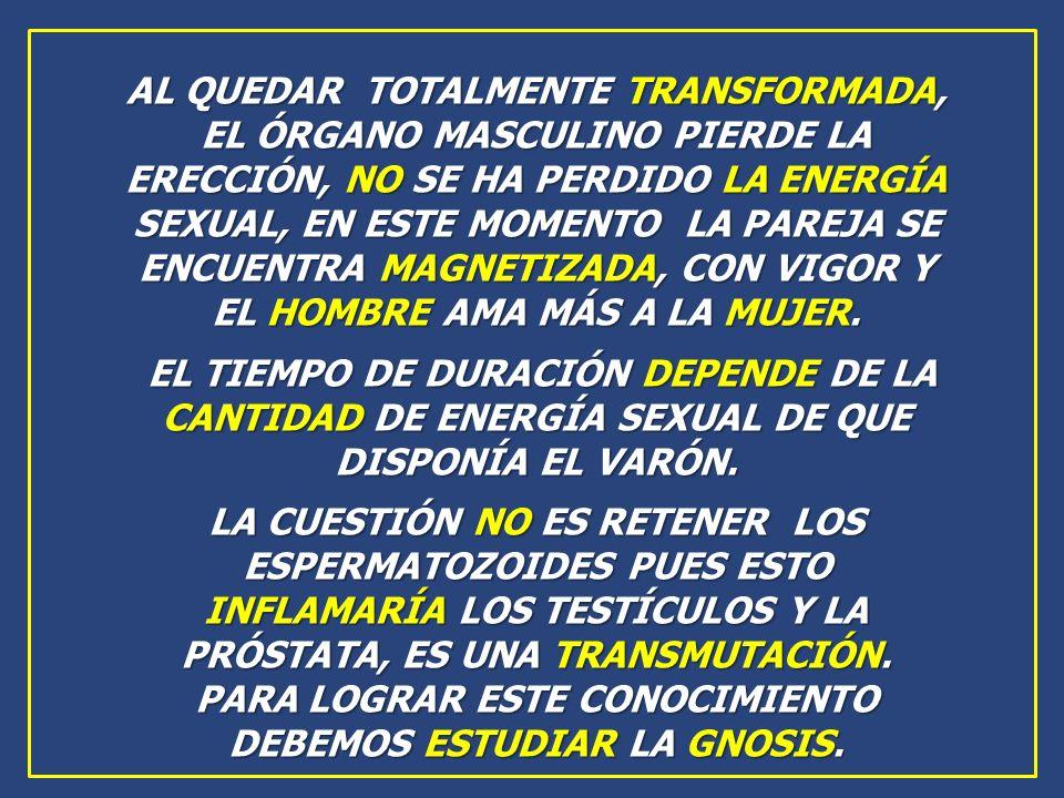 AL QUEDAR TOTALMENTE TRANSFORMADA, EL ÓRGANO MASCULINO PIERDE LA ERECCIÓN, NO SE HA PERDIDO LA ENERGÍA SEXUAL, EN ESTE MOMENTO LA PAREJA SE ENCUENTRA