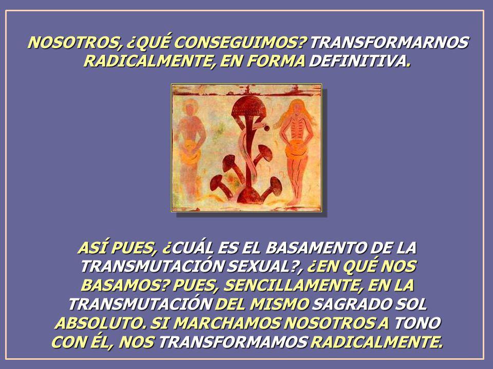 NOSOTROS, ¿QUÉ CONSEGUIMOS? TRANSFORMARNOS RADICALMENTE, EN FORMA DEFINITIVA. ASÍ PUES, ¿CUÁL ES EL BASAMENTO DE LA TRANSMUTACIÓN SEXUAL?, ¿EN QUÉ NOS