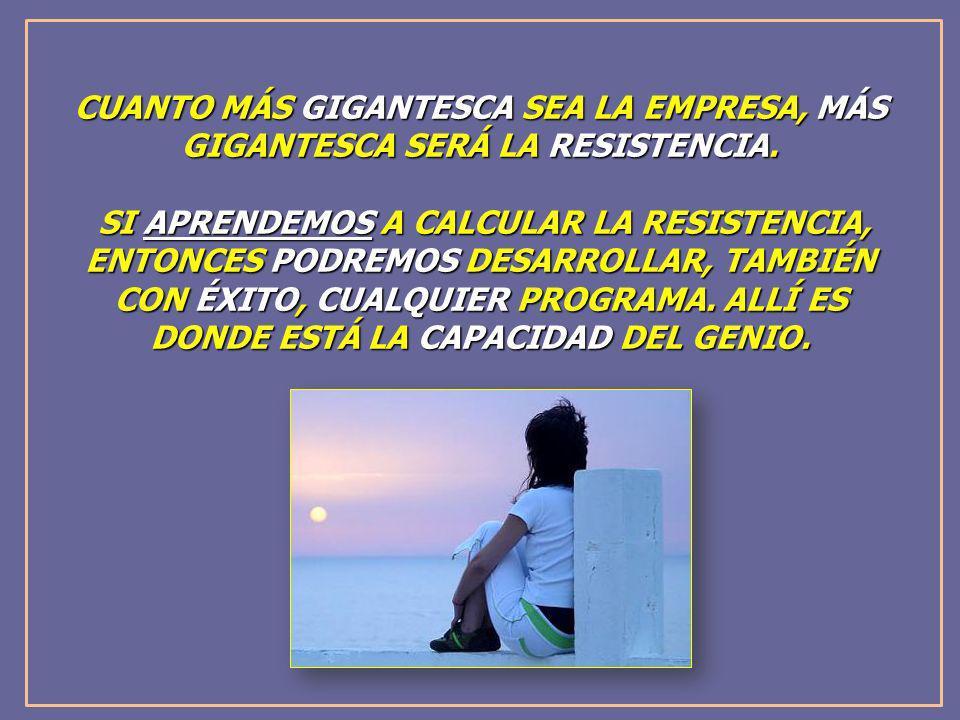 CUANTO MÁS GIGANTESCA SEA LA EMPRESA, MÁS GIGANTESCA SERÁ LA RESISTENCIA. SI APRENDEMOS A CALCULAR LA RESISTENCIA, ENTONCES PODREMOS DESARROLLAR, TAMB