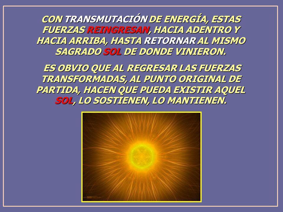 CON TRANSMUTACIÓN DE ENERGÍA, ESTAS FUERZAS REINGRESAN, HACIA ADENTRO Y HACIA ARRIBA, HASTA RETORNAR AL MISMO SAGRADO SOL DE DONDE VINIERON. ES OBVIO
