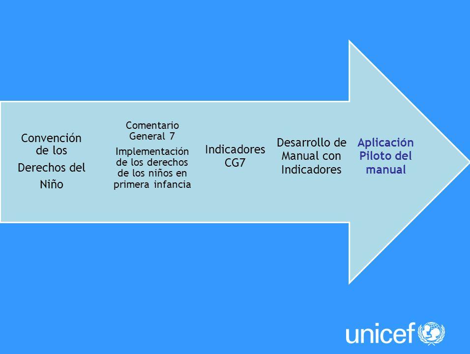 Aplicación Piloto del manual Desarrollo de Manual con Indicadores CG7 Comentario General 7 Implementación de los derechos de los niños en primera infa