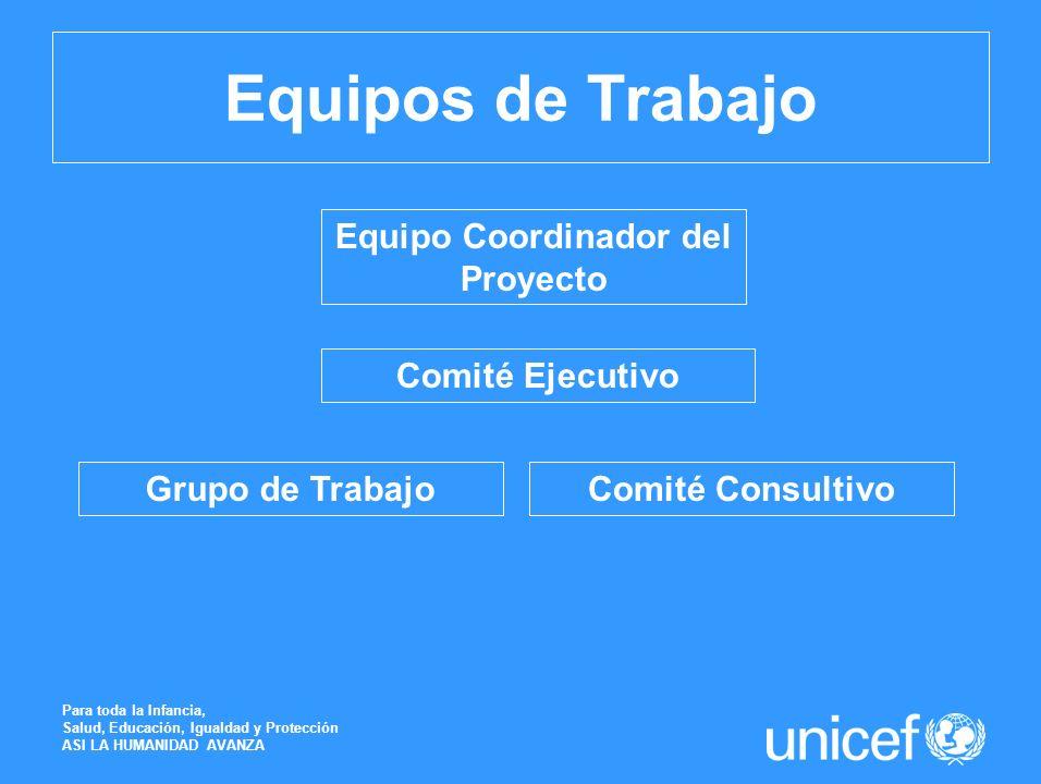 Equipos de Trabajo Para toda la Infancia, Salud, Educación, Igualdad y Protección ASI LA HUMANIDAD AVANZA Equipo Coordinador del Proyecto Comité Ejecu