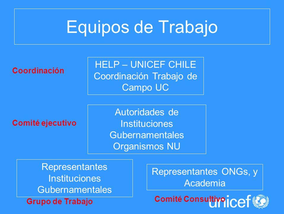 Equipos de Trabajo HELP – UNICEF CHILE Coordinación Trabajo de Campo UC Autoridades de Instituciones Gubernamentales Organismos NU Representantes Inst