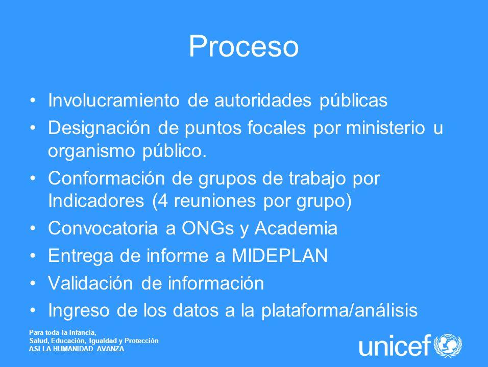 Proceso Involucramiento de autoridades públicas Designación de puntos focales por ministerio u organismo público. Conformación de grupos de trabajo po