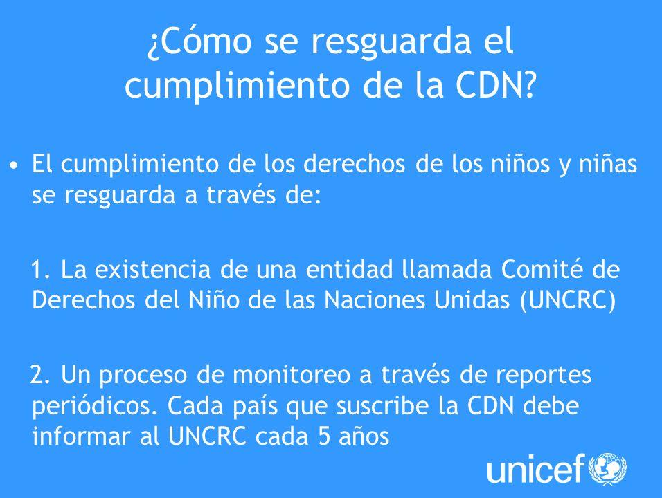 ¿Cómo se resguarda el cumplimiento de la CDN? El cumplimiento de los derechos de los niños y niñas se resguarda a través de: 1. La existencia de una e