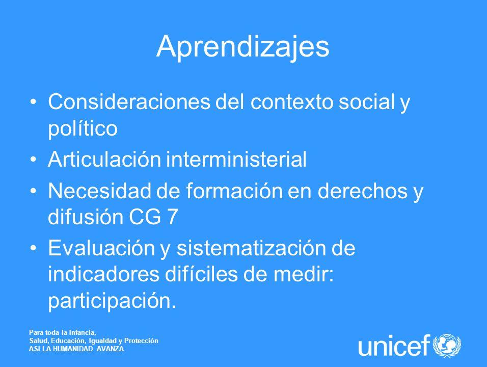 Aprendizajes Consideraciones del contexto social y político Articulación interministerial Necesidad de formación en derechos y difusión CG 7 Evaluació