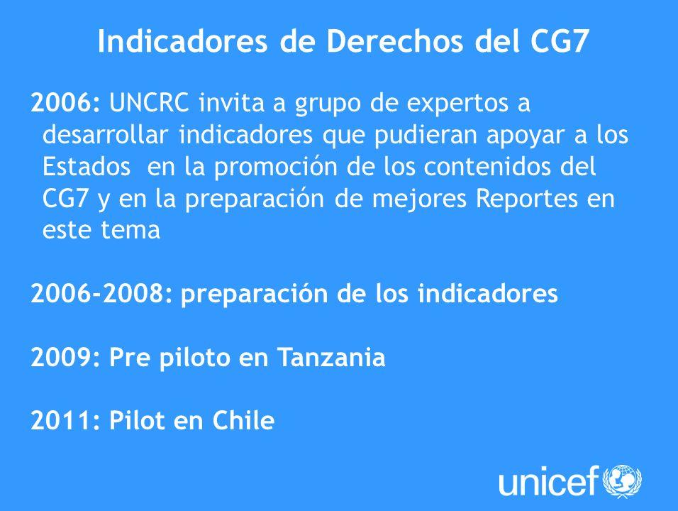 2006: UNCRC invita a grupo de expertos a desarrollar indicadores que pudieran apoyar a los Estados en la promoción de los contenidos del CG7 y en la p