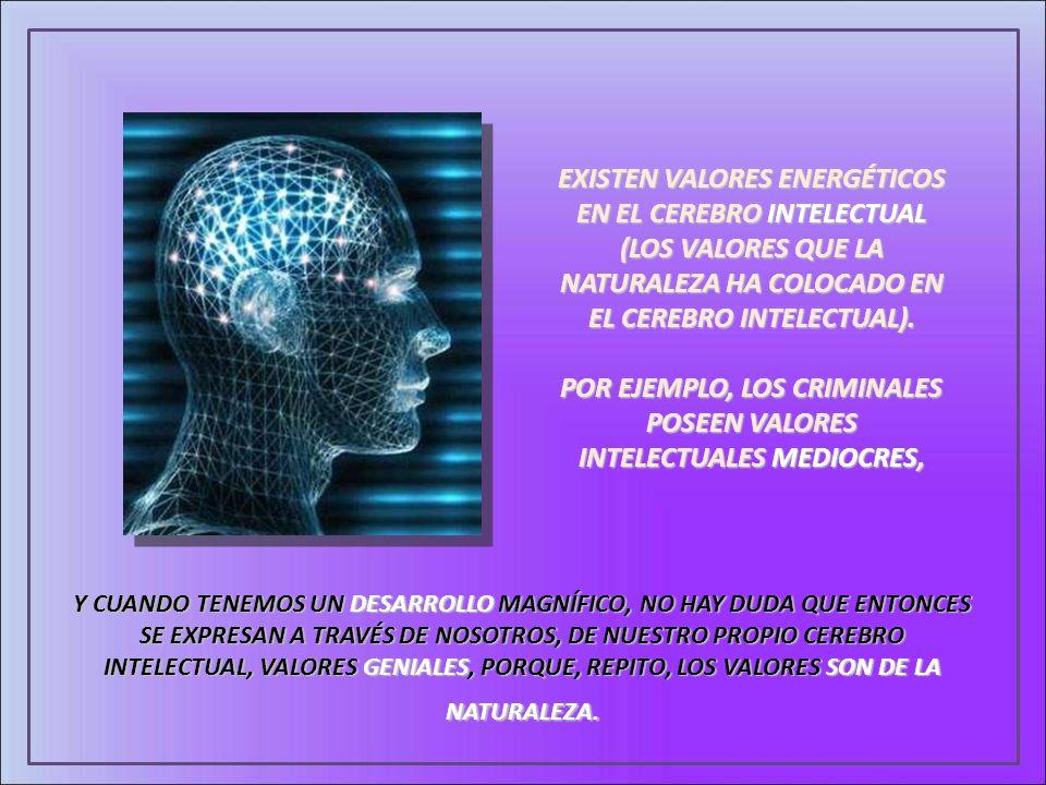 EXISTEN VALORES ENERGÉTICOS EN EL CEREBRO INTELECTUAL (LOS VALORES QUE LA NATURALEZA HA COLOCADO EN EL CEREBRO INTELECTUAL). POR EJEMPLO, LOS CRIMINAL