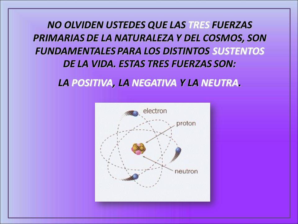 NO OLVIDEN USTEDES QUE LAS TRES FUERZAS PRIMARIAS DE LA NATURALEZA Y DEL COSMOS, SON FUNDAMENTALES PARA LOS DISTINTOS SUSTENTOS DE LA VIDA. ESTAS TRES