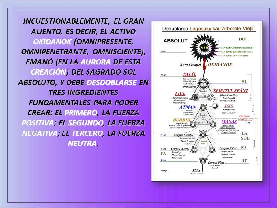 INCUESTIONABLEMENTE, EL GRAN ALIENTO, ES DECIR, EL ACTIVO OKIDANOK (OMNIPRESENTE, OMNIPENETRANTE, OMNISCIENTE), EMANÓ (EN LA AURORA DE ESTA CREACIÓN)