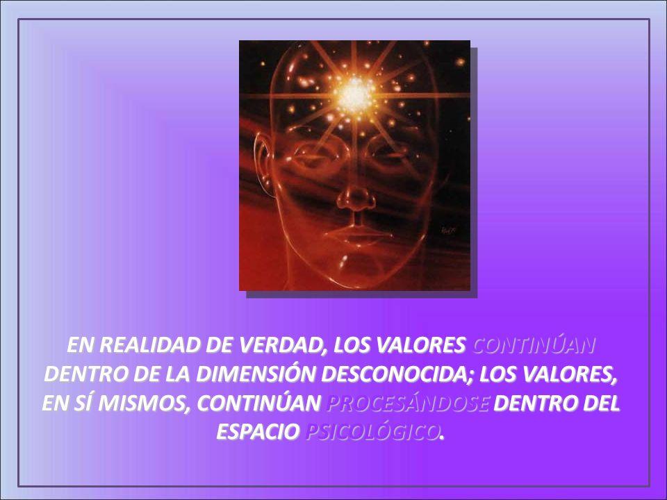 EN REALIDAD DE VERDAD, LOS VALORES CONTINÚAN DENTRO DE LA DIMENSIÓN DESCONOCIDA; LOS VALORES, EN SÍ MISMOS, CONTINÚAN PROCESÁNDOSE DENTRO DEL ESPACIO