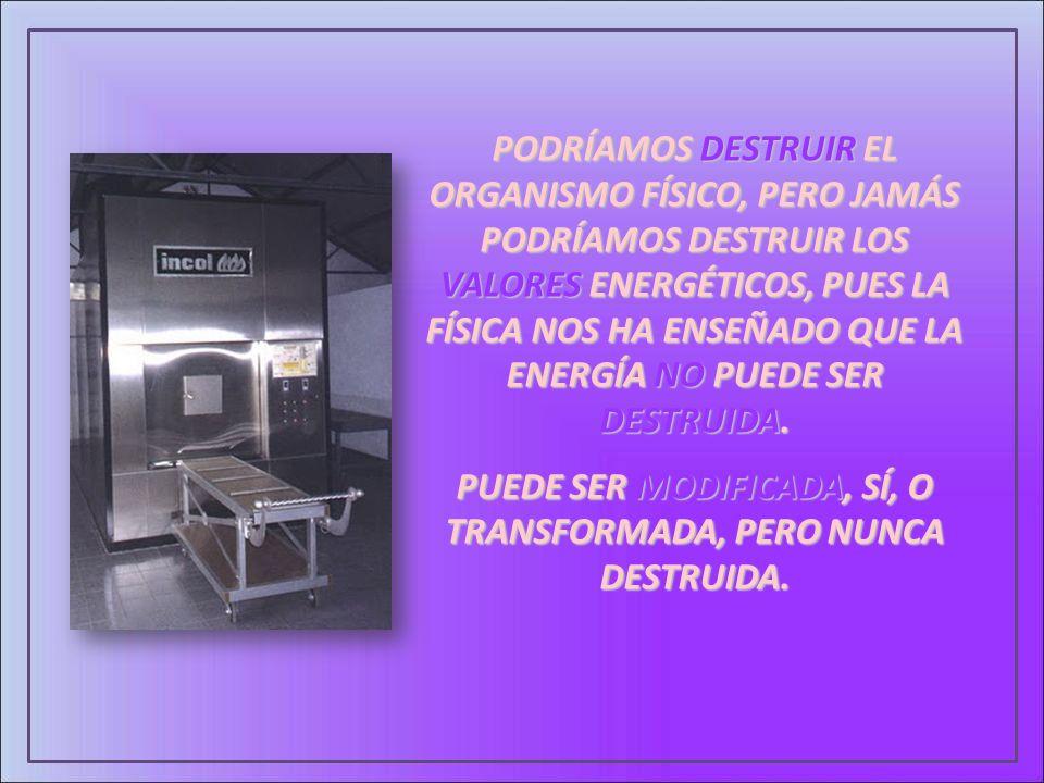PODRÍAMOS DESTRUIR EL ORGANISMO FÍSICO, PERO JAMÁS PODRÍAMOS DESTRUIR LOS VALORES ENERGÉTICOS, PUES LA FÍSICA NOS HA ENSEÑADO QUE LA ENERGÍA NO PUEDE