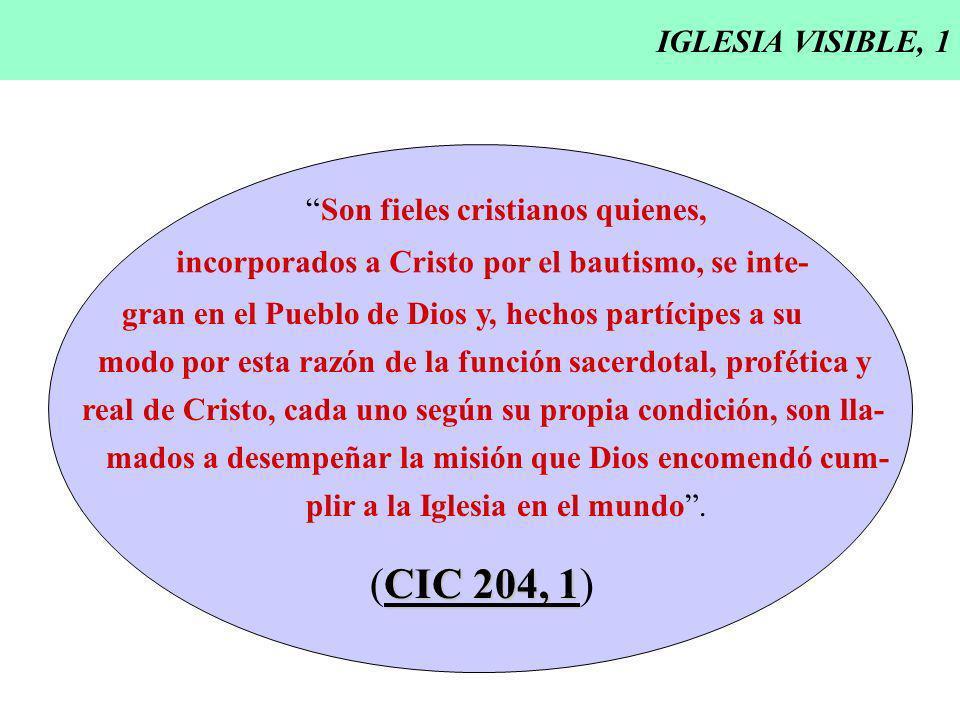 IGLESIA VISIBLE, 1 Son fieles cristianos quienes, incorporados a Cristo por el bautismo, se inte- gran en el Pueblo de Dios y, hechos partícipes a su
