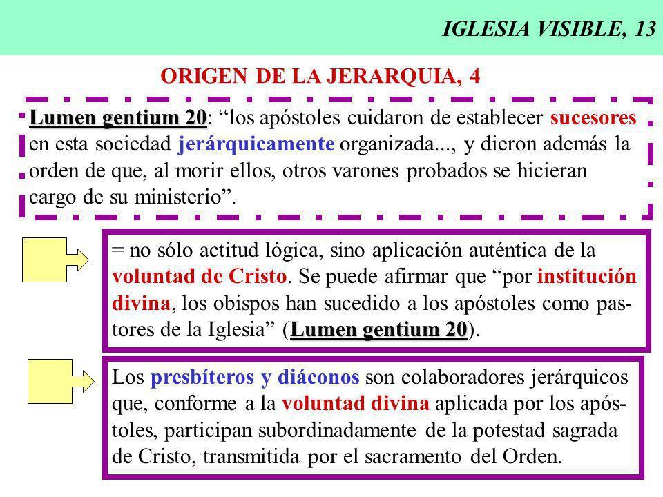 IGLESIA VISIBLE, 13 ORIGEN DE LA JERARQUIA, 4 Lumen gentium 20 Lumen gentium 20: los apóstoles cuidaron de establecer sucesores en esta sociedad jerárquicamente organizada..., y dieron además la orden de que, al morir ellos, otros varones probados se hicieran cargo de su ministerio.