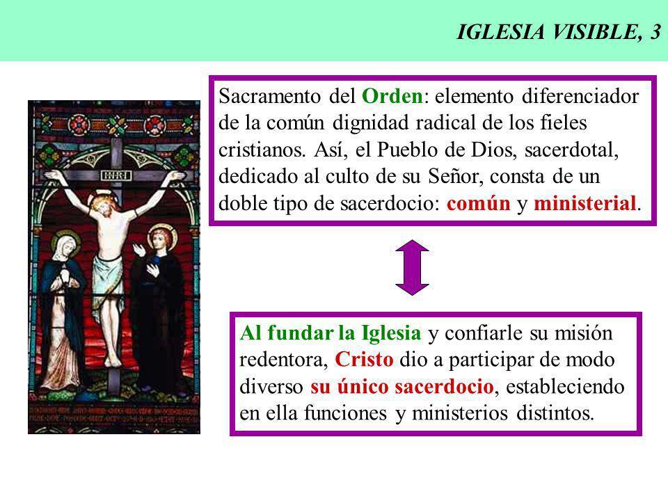 IGLESIA VISIBLE, 3 Sacramento del Orden: elemento diferenciador de la común dignidad radical de los fieles cristianos. Así, el Pueblo de Dios, sacerdo