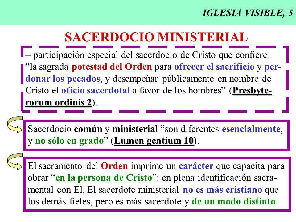 IGLESIA VISIBLE, 5 SACERDOCIO MINISTERIAL = participación especial del sacerdocio de Cristo que confiere la sagrada potestad del Orden para ofrecer el