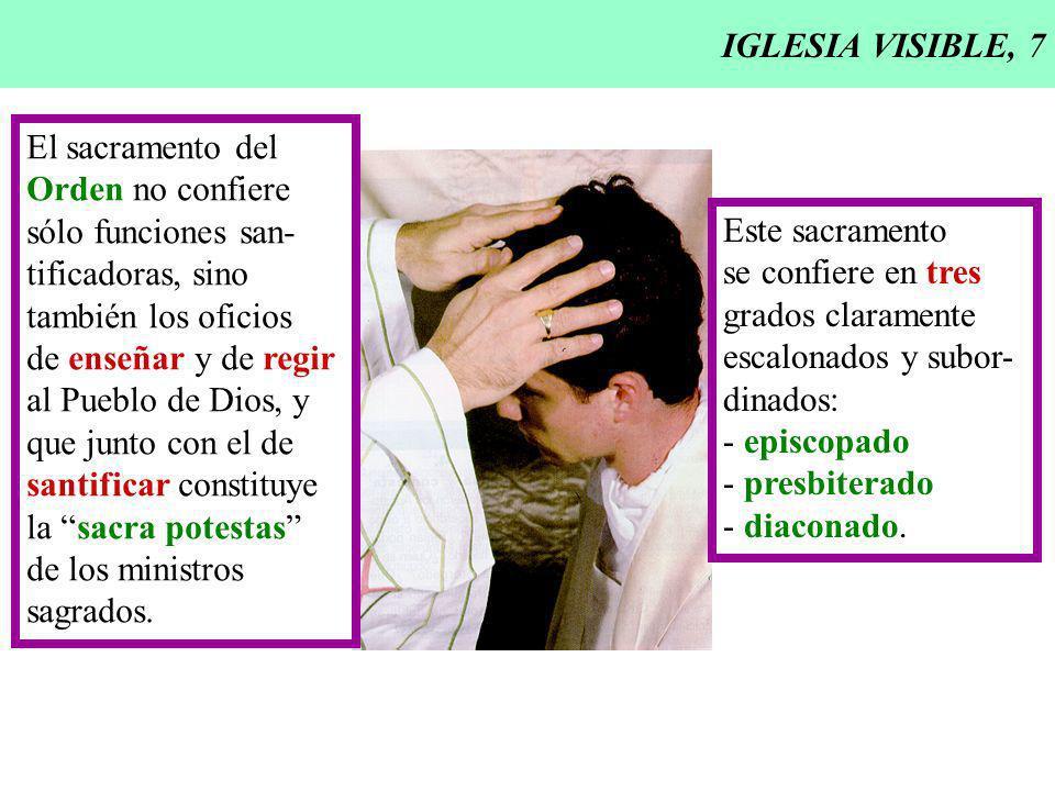 IGLESIA VISIBLE, 7 El sacramento del Orden no confiere sólo funciones san- tificadoras, sino también los oficios de enseñar y de regir al Pueblo de Di