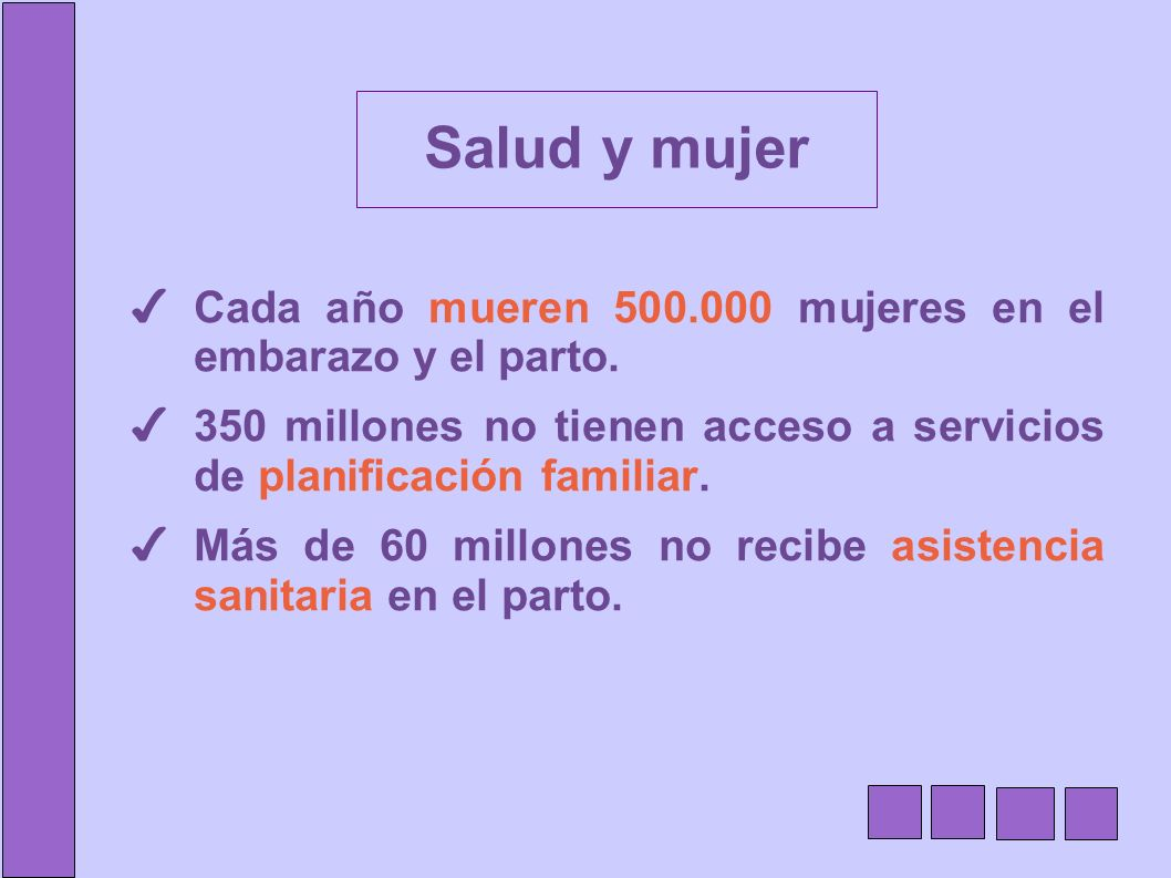 Cada año mueren 500.000 mujeres en el embarazo y el parto. 350 millones no tienen acceso a servicios de planificación familiar. Más de 60 millones no