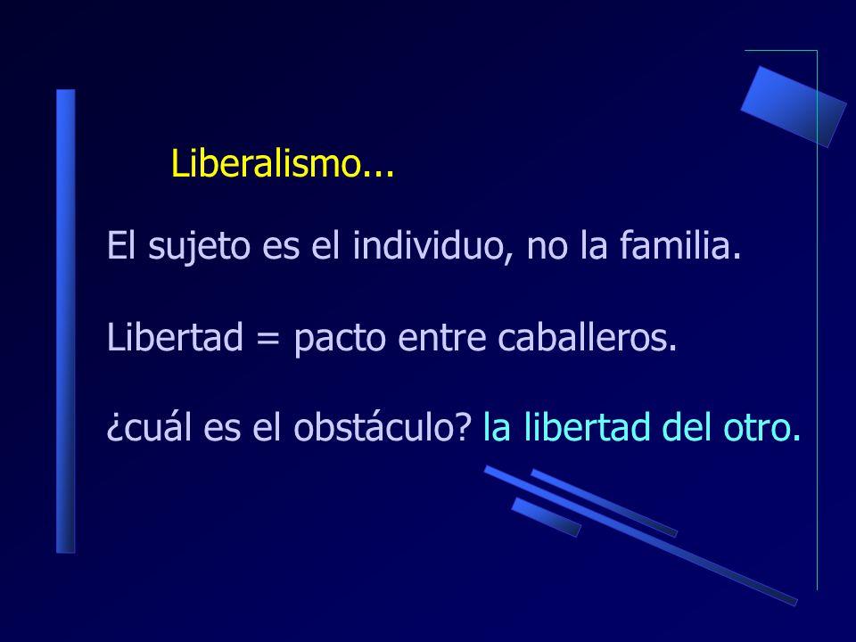 El sujeto es el individuo, no la familia. Libertad = pacto entre caballeros.