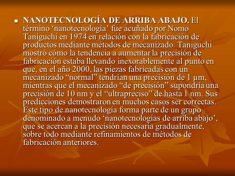 NANOTECNOLOGÍA DE ARRIBA ABAJO. El término nanotecnología fue acuñado por Nomo Taniguchi en 1974 en relación con la fabricación de productos mediante