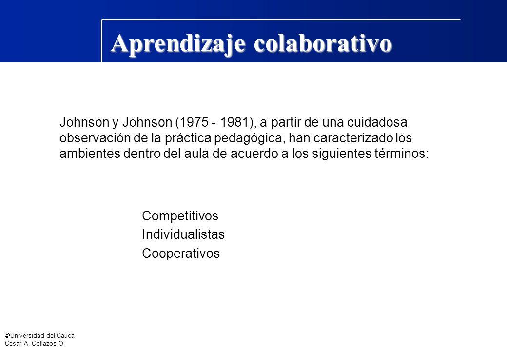 Universidad del Cauca César A. Collazos O. Aprendizaje colaborativo Johnson y Johnson (1975 - 1981), a partir de una cuidadosa observación de la práct
