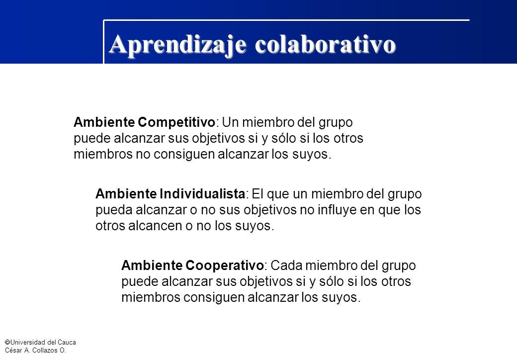Universidad del Cauca César A. Collazos O. Aprendizaje colaborativo Ambiente Competitivo: Un miembro del grupo puede alcanzar sus objetivos si y sólo