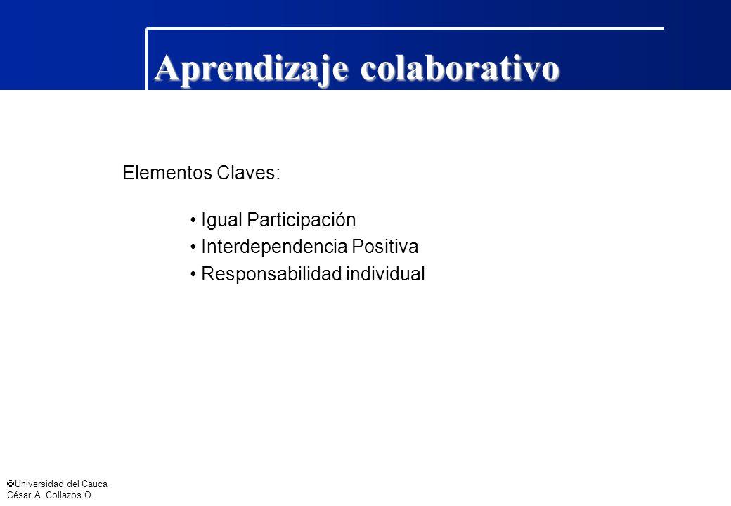 Universidad del Cauca César A. Collazos O. Aprendizaje colaborativo Elementos Claves: Igual Participación Interdependencia Positiva Responsabilidad in