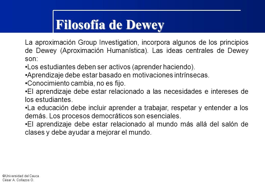 Universidad del Cauca César A. Collazos O. Filosofía de Dewey La aproximación Group Investigation, incorpora algunos de los principios de Dewey (Aprox