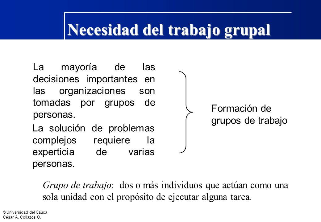 Universidad del Cauca César A. Collazos O. Necesidad del trabajo grupal La mayoría de las decisiones importantes en las organizaciones son tomadas por