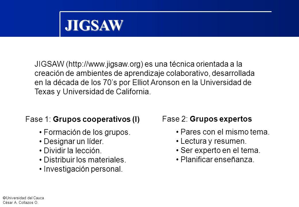 Universidad del Cauca César A. Collazos O. JIGSAW JIGSAW (http://www.jigsaw.org) es una técnica orientada a la creación de ambientes de aprendizaje co