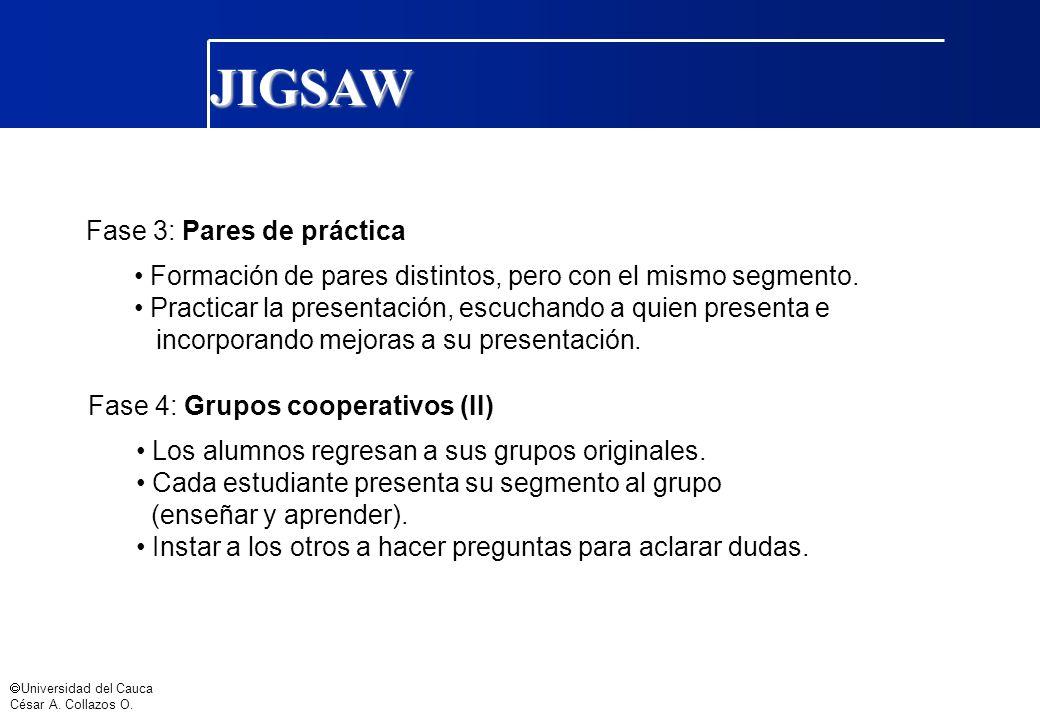 Universidad del Cauca César A. Collazos O. Fase 3: Pares de práctica Formación de pares distintos, pero con el mismo segmento. Practicar la presentaci