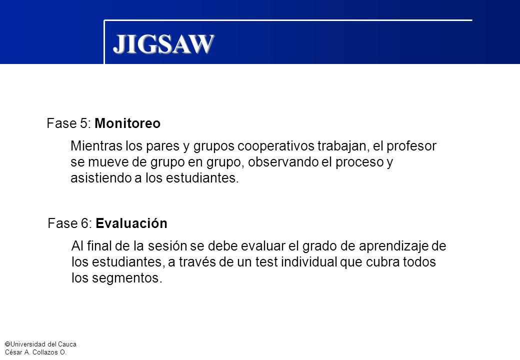 Universidad del Cauca César A. Collazos O. Fase 5: Monitoreo Mientras los pares y grupos cooperativos trabajan, el profesor se mueve de grupo en grupo