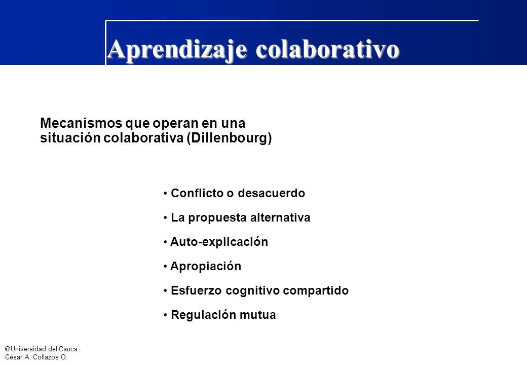 Universidad del Cauca César A. Collazos O. Aprendizaje colaborativo Mecanismos que operan en una situación colaborativa (Dillenbourg) Conflicto o desa