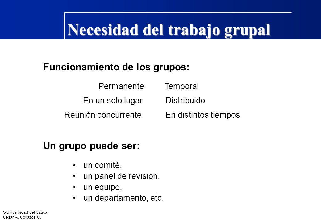 Universidad del Cauca César A. Collazos O. Un grupo puede ser: un comité, un panel de revisión, un equipo, un departamento, etc. PermanenteTemporal En