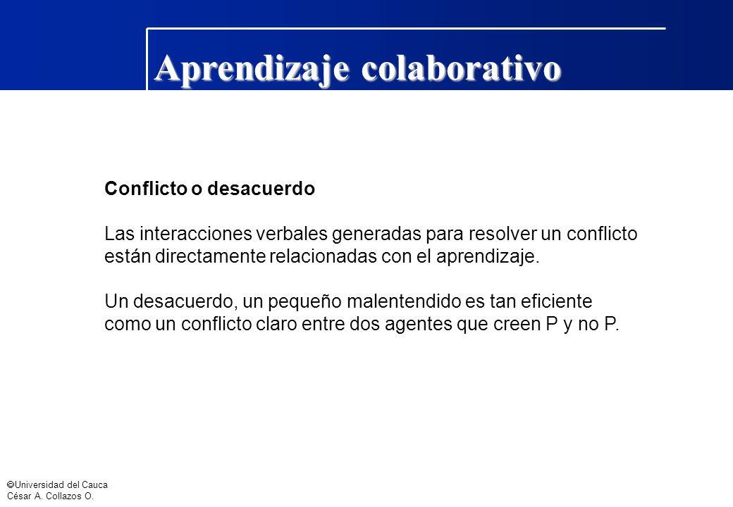 Universidad del Cauca César A. Collazos O. Aprendizaje colaborativo Conflicto o desacuerdo Las interacciones verbales generadas para resolver un confl