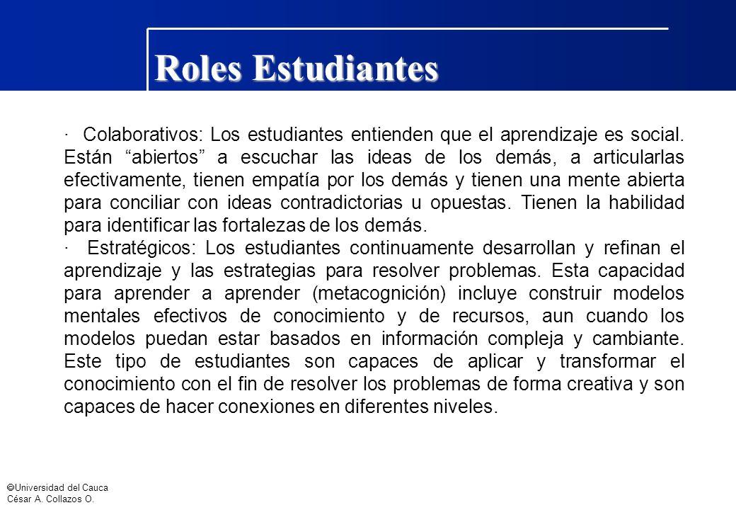 Universidad del Cauca César A. Collazos O. Roles Estudiantes · Colaborativos: Los estudiantes entienden que el aprendizaje es social. Están abiertos a