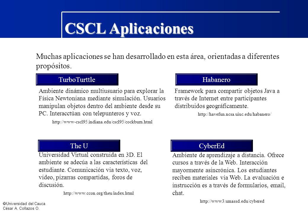 Universidad del Cauca César A. Collazos O. Muchas aplicaciones se han desarrollado en esta área, orientadas a diferentes propósitos. TurboTurttle Ambi
