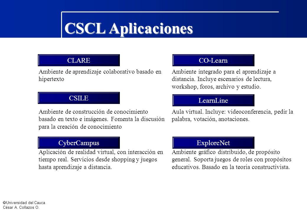 Universidad del Cauca César A. Collazos O. Ambiente de aprendizaje colaborativo basado en hipertexto Ambiente integrado para el aprendizaje a distanci