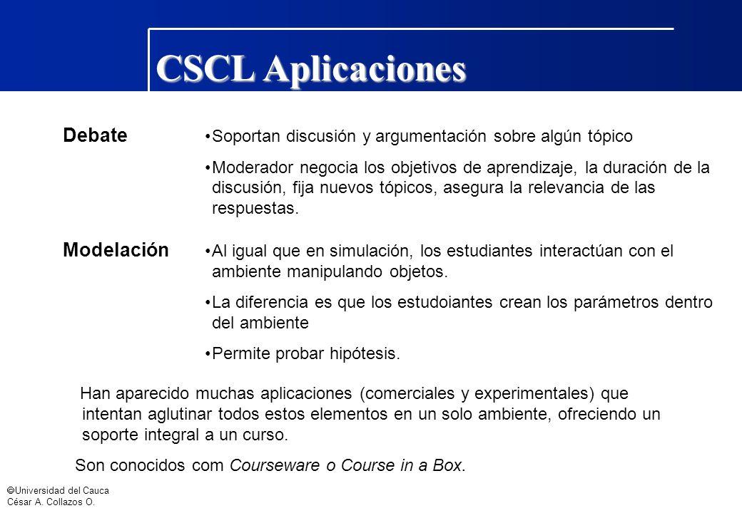 Universidad del Cauca César A. Collazos O. Debate Soportan discusión y argumentación sobre algún tópico Moderador negocia los objetivos de aprendizaje