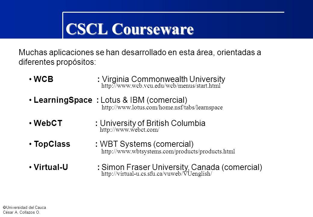 Universidad del Cauca César A. Collazos O. Muchas aplicaciones se han desarrollado en esta área, orientadas a diferentes propósitos: WCB : Virginia Co