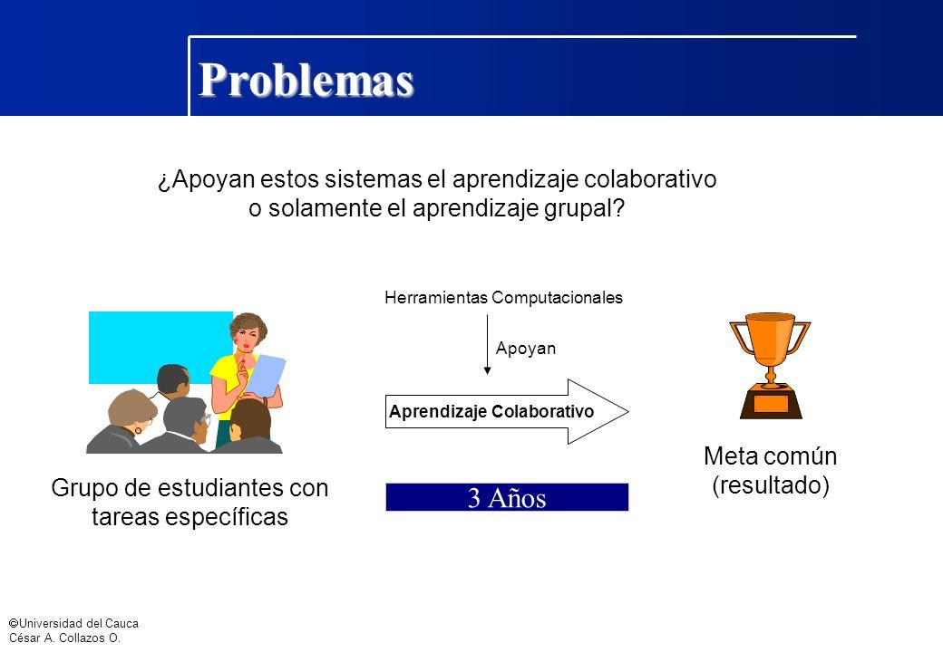 Universidad del Cauca César A. Collazos O. Problemas ¿Apoyan estos sistemas el aprendizaje colaborativo o solamente el aprendizaje grupal? Meta común